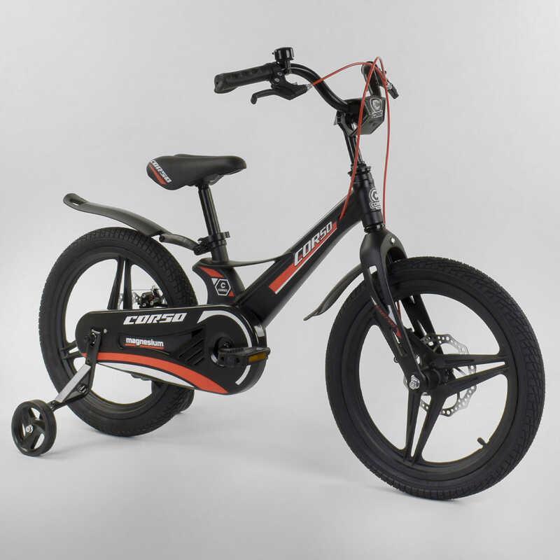 """Велосипед 18"""" дюймов 2-х колёсный  """"CORSO"""" MG-95796 (1) ЧЁРНЫЙ, МАГНИЕВАЯ РАМА, ЛИТЫЕ ДИСКИ, ДИСКОВЫЕ ТОРМОЗА"""