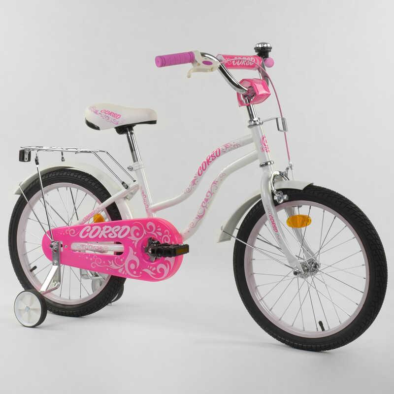 """Велосипед 18"""" дюймов 2-х колёсный """"CORSO"""" Т-28821 (1) БЕЛЫЙ, ручной тормоз, звоночек, доп. колеса, СОБРАННЫЙ НА 75%"""