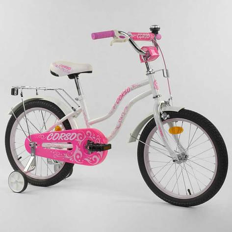 """Велосипед 18"""" дюймов 2-х колёсный """"CORSO"""" Т-28821 (1) БЕЛЫЙ, ручной тормоз, звоночек, доп. колеса, СОБРАННЫЙ НА 75%, фото 2"""