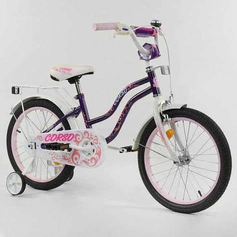"""Велосипед 18"""" дюймов 2-х колёсный """"CORSO"""" Т-85234 (1) ФИОЛЕТОВЫЙ, ручной тормоз, звоночек, доп. колеса, СОБРАННЫЙ НА 75%, фото 2"""