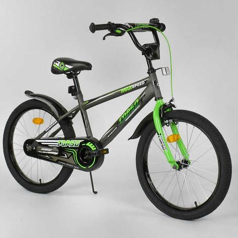 """Велосипед 20"""" дюймов 2-х колёсный  """"CORSO"""" EX-20 N 2955 (1) СЕРЫЙ, ручной тормоз, звоночек, СОБРАННЫЙ НА 75%, фото 2"""