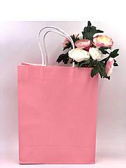 Бумажный пакет розовый 27*11*21 см