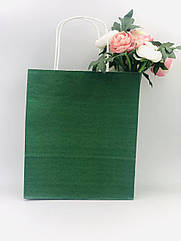 Бумажный пакет зеленый  20*8*24 см