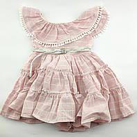 Детское платье хлопковое размер 1 годик Турция розовое без рукавов летнее для девочек
