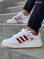 Мужские кроссовки Adidas Forum Mid (бело/красные)