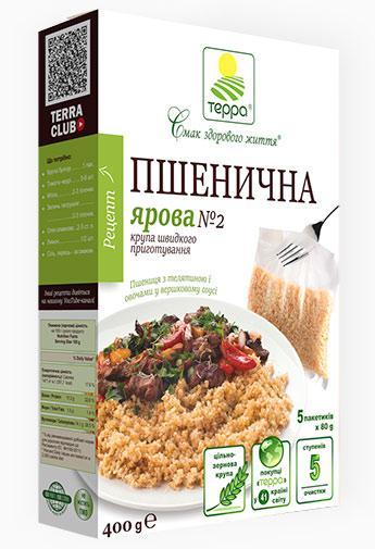 """Крупа Пшенична ярова 5 пакетів по 80 г """"Терра"""" 0,4 кг швидкого приготування"""