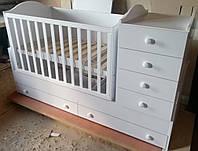 """Детская кроватка-трансформер с комодом, ящиками и маятником 3в1 """"Диона"""" Angel baby"""