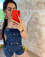 Джинсовый комбинезон женский шортами,стильный, 211-0562
