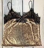 Стильна велюрова жіноча піжама майка і штани з манжетами Золото, фото 3