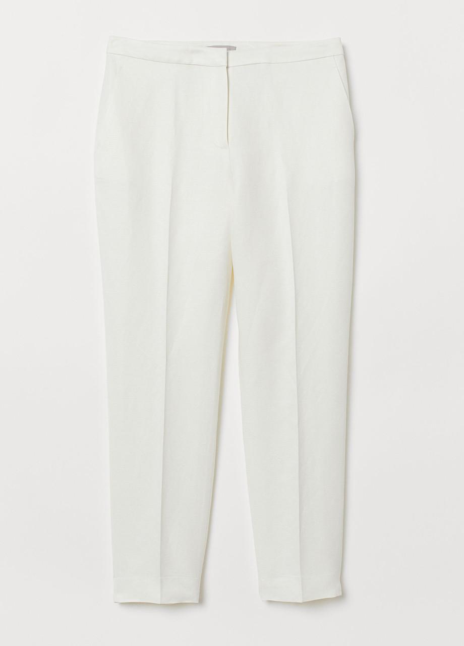 Молочные летние зауженные брюки H&M