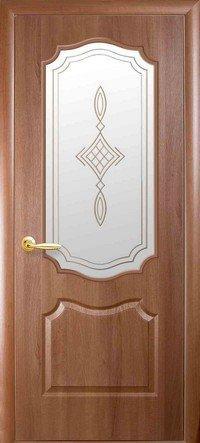 Дверь межкомнатная Вензель Золотая ольха 600 мм, со стеклом сатин.