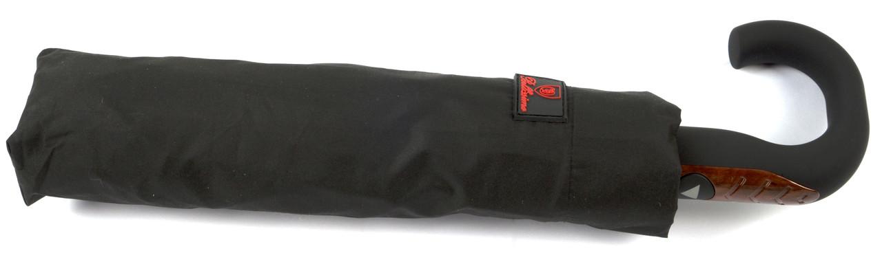 Мужской прочный зонт полуавтомат классический черный цвет Belissimoart. 18305 черный