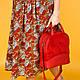 Женская сумка красная, натуральная  кожа и замша. Пошив в любом цвете под заказ., фото 2