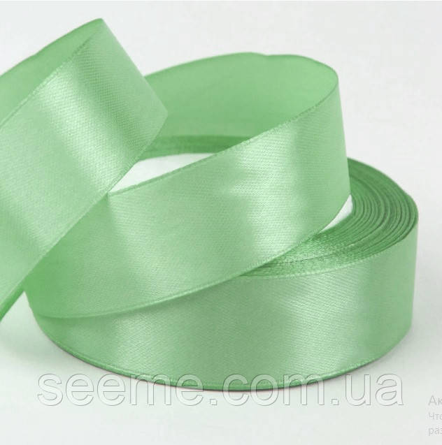 Стрічка атласна 25 мм, колір зелена м'ята