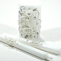 🔥 Распродажа! Декоративные свечи для свадьбы 3 шт украшены лепкой С-701
