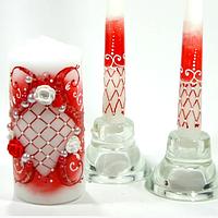 Топ! Набор свадебных свечей в красном цвете 3 шт/уп с росписью и бусинами С-308