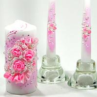 🔥 Распродажа! Красивые розовые свечи Семейный очаг 3 шт/уп украшены лепкой С-107