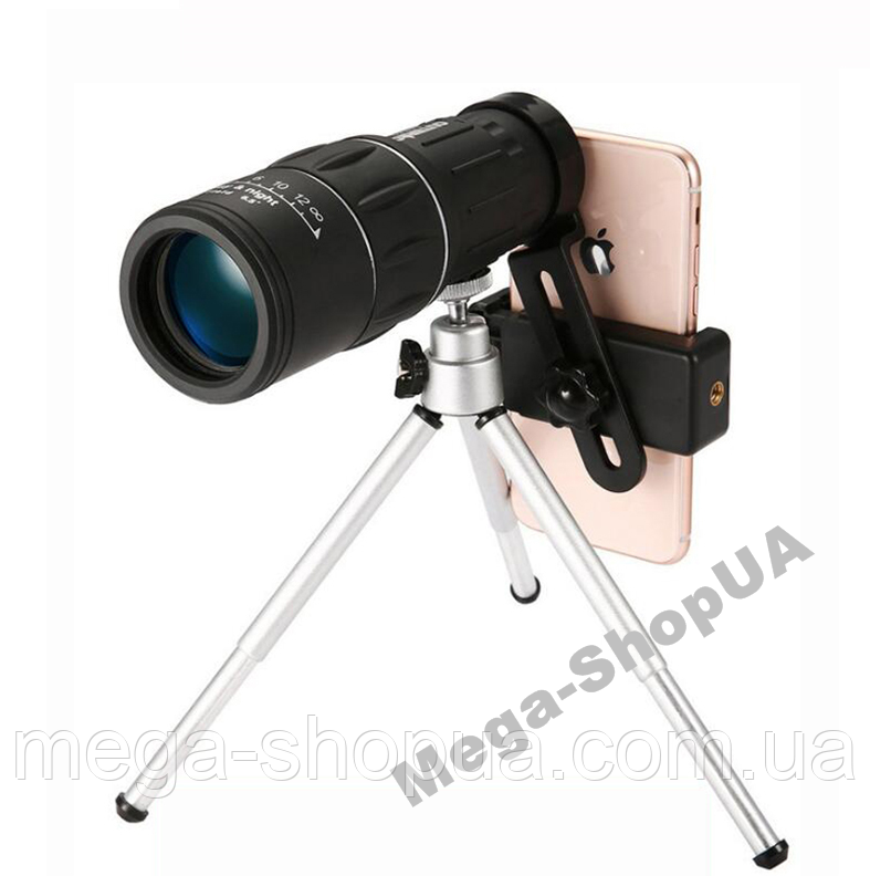 Монокуляр 16x52 + тримач для телефону + штатив тринога. Об'єктив телескопа телефону. Об'єднання єктив телескоп