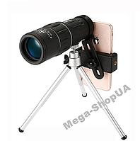 Монокуляр 16x52 + тримач для телефону + штатив тринога. Об'єктив телескопа телефону. Об'єднання єктив телескоп, фото 1