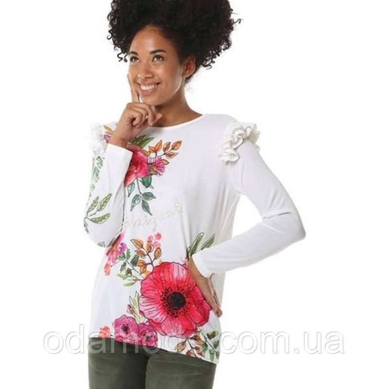 Женская блуза белая с принтом Desigual