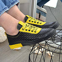 Кожаные легкие мокасины на утолщенной подошве,сквозная перфорация, цвет черный/желтый