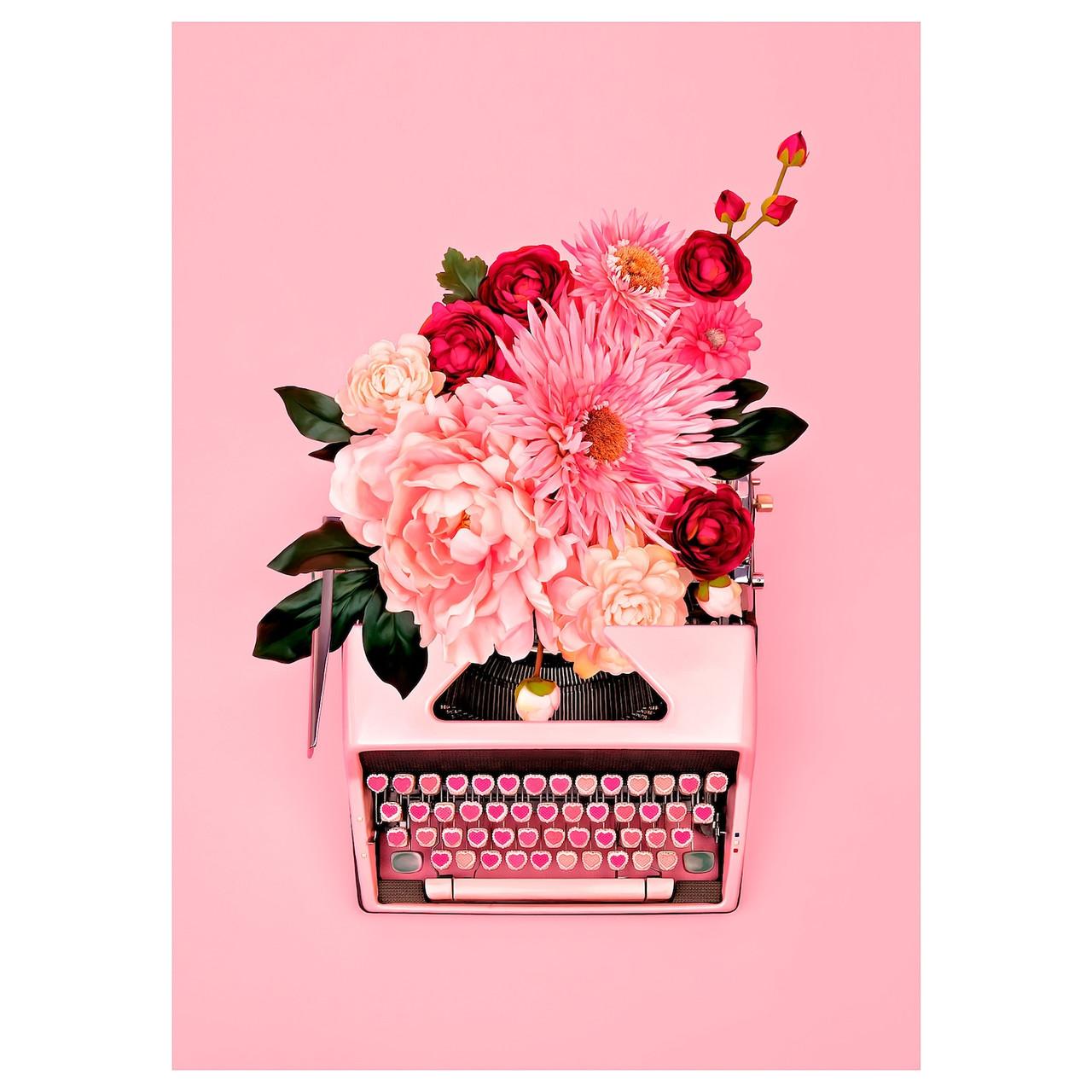 PJÄTTERYD Изображение, Розовая печатная машинка, 50х70 см
