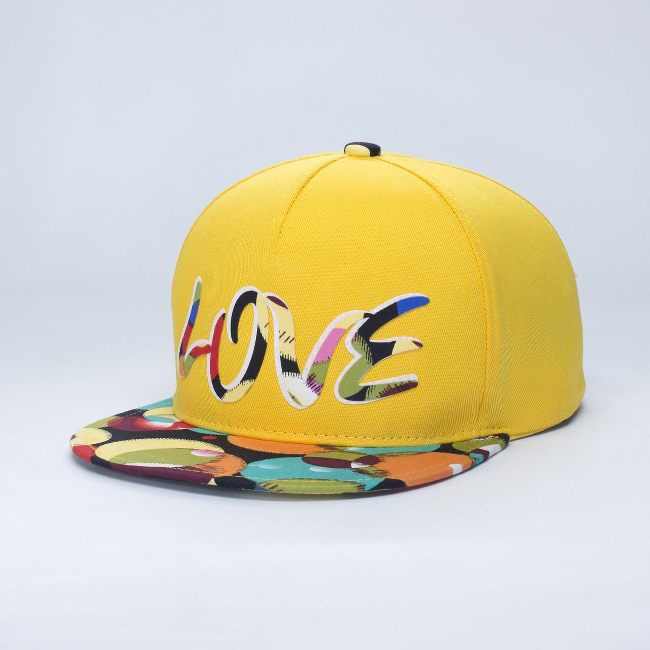 Детская кепка бейсболка для девочки 3-16 лет INAL love XS / 51-52 RU Желтый 47451