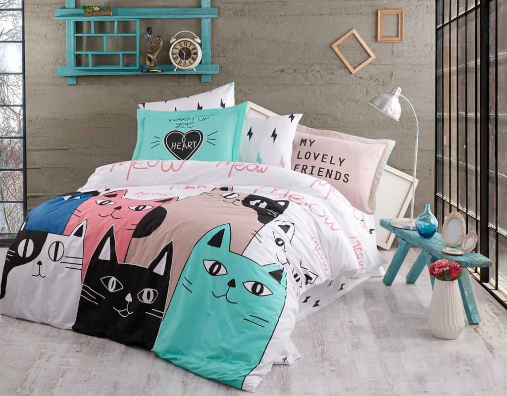 Двуспальный комплект постельного белья Poplin Love Cats 200x220 см. (44576_2,0)