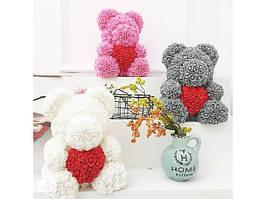 Мишка из роз с сердцем Bear Flowers 40 см