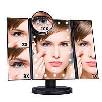 Зеркало с подсветкой 22 LED SuperStar mirror с боковими зеркалами, фото 1