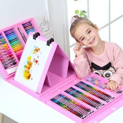 Художественный набор для рисования с мольбертом в чемодане на 208 предметов Розовый