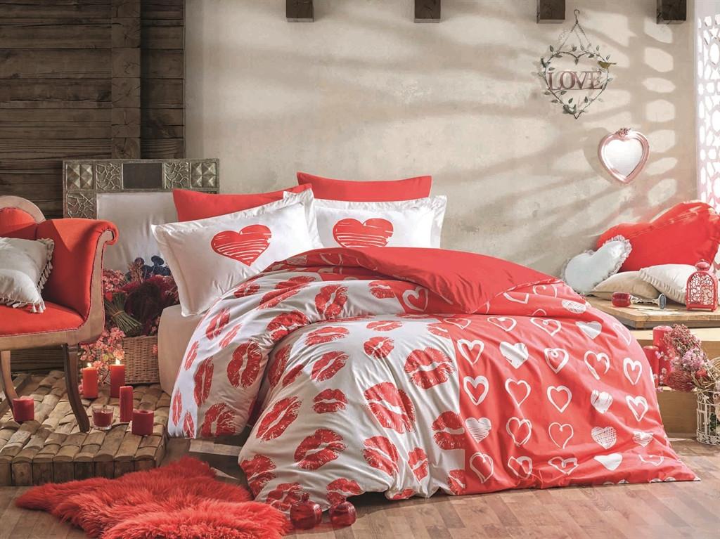Двуспальный комплект постельного белья Poplin Love Me 200x220 см. (40363_2,0)