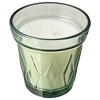 IKEA VÄLDOFT Свеча ароматическая в стекле, Утренняя роса, светло-зеленый, 8 см