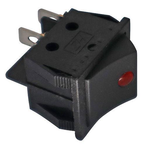 Кнопка, выключатель KCD4 с подсветкой (красная точка), тумблер 2 положения 4 контакта. 31*25 мм.  1 шт