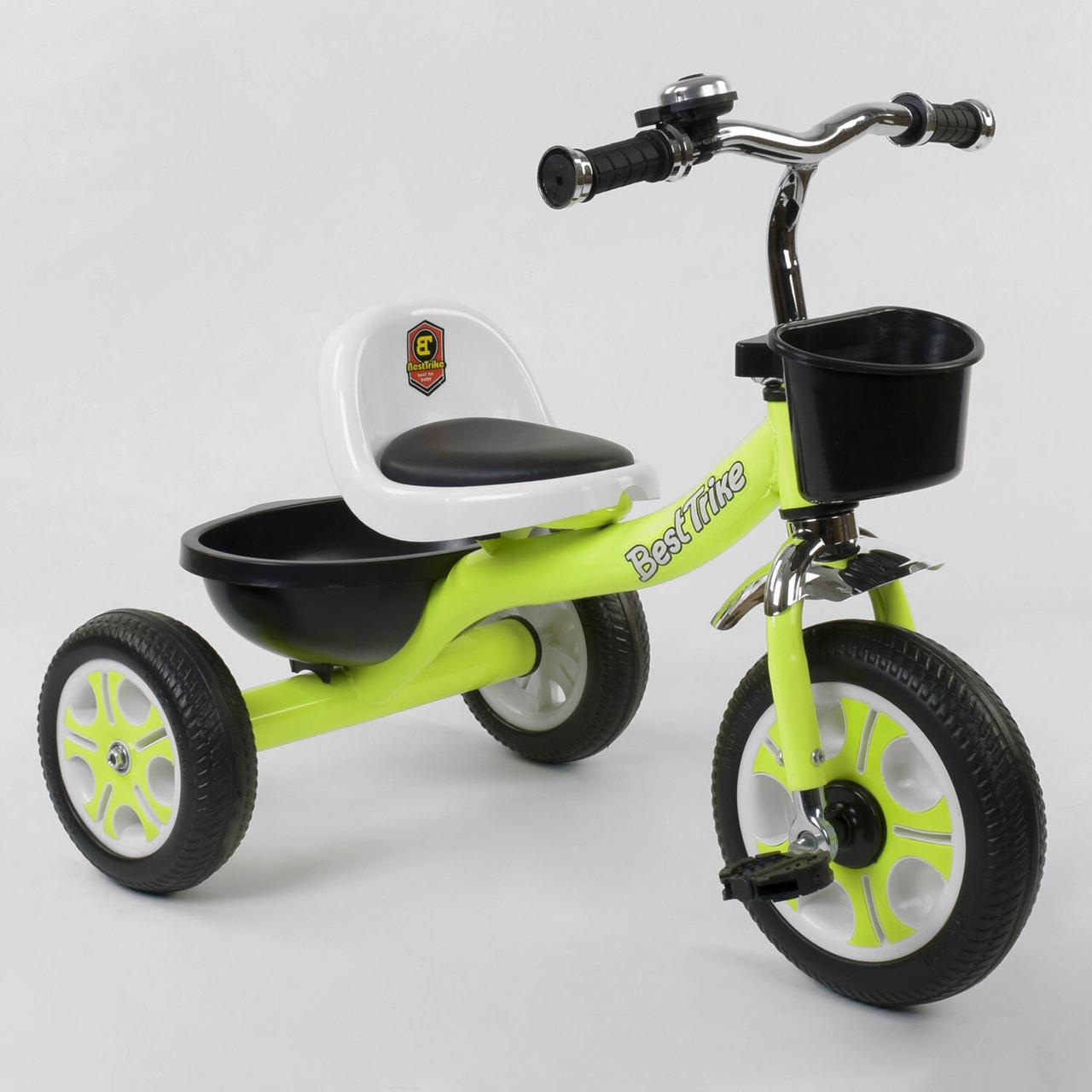 """Велосипед детский трехколесный """"Best Trike"""" LM-3109 Салатовый (пена колеса, 2 корзины, звонок)"""