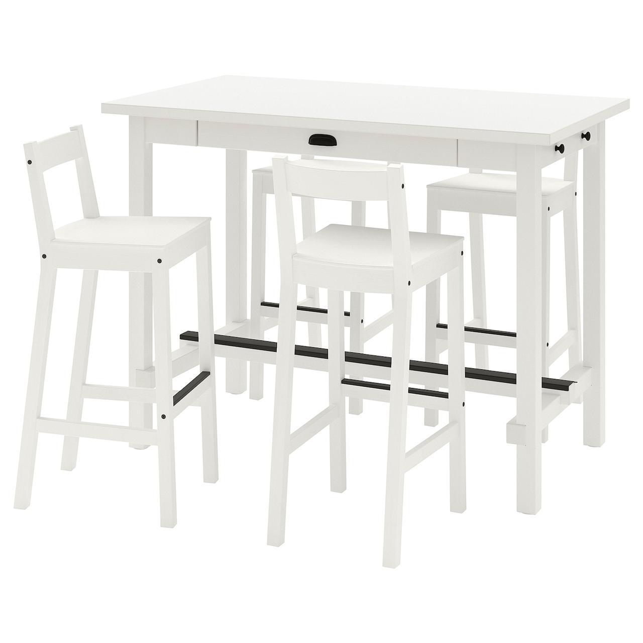 IKEA NORDVIKEN / NORDVIKEN Стол барный + 4 барных стула