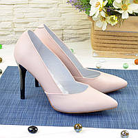 Классические женские кожаные туфли на шпильке, цвет пудра