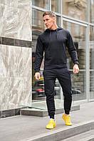 Мужской спортивный костюм с капюшоном, цвет черный