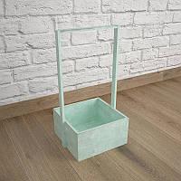 Ящик-кашпо для цветов 200х200х100(h) мм. Декоративный деревянный ящик с ручкой. Цвет зеленый