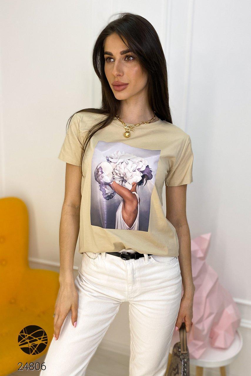 Женская футболка oversize с принтом. Модель 24806
