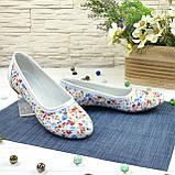 Женские кожаные стильные туфли с цветочным принтом., фото 2