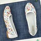 Женские кожаные стильные туфли с цветочным принтом., фото 5