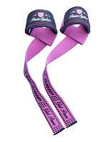 Лямки для тяги Power System G-Power Strap, хлопок с неопреновой вставкой , р-р 15х6см, розовый  (PS-3420_Pink)