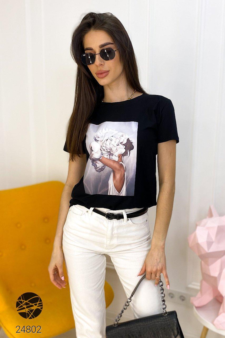 Женская футболка oversize с принтом. Модель 24802