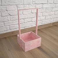 Ящик-кашпо для цветов 200х200х100(h) мм. Декоративный деревянный ящик с ручкой. Цвет розовый