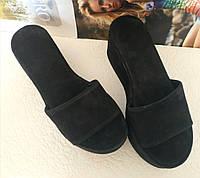 Шлепки шлепанцы сабо женские на платформе Mante S сандалии с толстой подошвой черный замш, фото 1