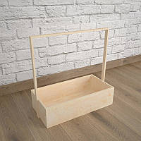 Ящик-кашпо для цветов 200х300х100(h) мм. Декоративный деревянный ящик с ручкой. Цвет бежевый