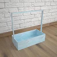 Ящик-кашпо для цветов 200х300х100(h) мм. Декоративный деревянный ящик с ручкой. Цвет голубой
