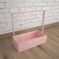 Ящик-кашпо для цветов 200х300х100(h) мм. Декоративный деревянный ящик с ручкой. Цвет розовый