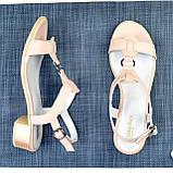 Женские кожаные босоножки на маленьком каблучке, цвет пудра., фото 4